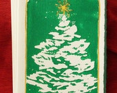 Lino cut holiday cards - Christmas tree