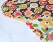 Retro Flowers - LARGE Cloth PUL Pad Organic Hemp Fleece, 10in