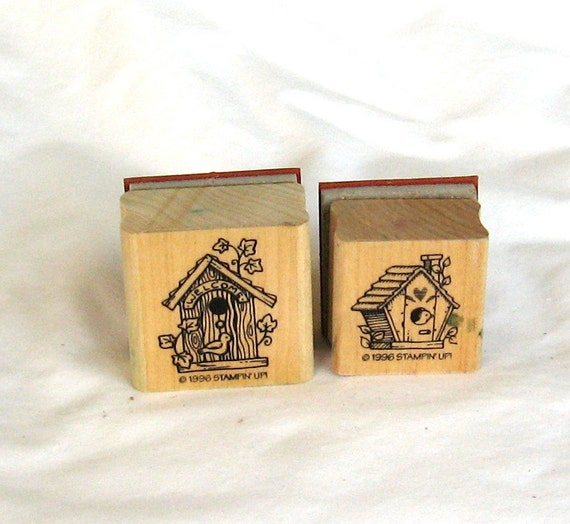 Rubber stamps, birdhouses, 2 each, stamping, C, destash
