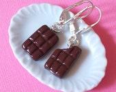 Chocolate earrings, Chocolate Bar - Earrings Dangle, polymer clay Chocolate earrings, Chocolate jewelry, bitten Chocolate earrings