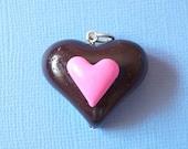 Chocolate Heart Pendant, Chocolate Heart Charm, polymer clay heart, polymer clay Chocolate Heart, Chocolate charm, Chocolate pendant,   Love