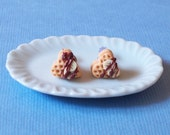 Heart Waffle Stud Earrings - Banana, waffle earrings, wafer earrings, clay waffle earrings, clay heart earrings, waffle post earrings