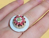 Tart with Fruits and chocolate - Adjustable Ring, polymer clay tart ring, miniature tart, cake ring, tart jewelry, wearable food