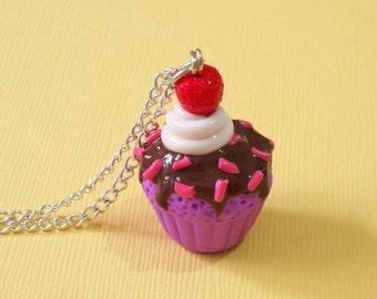 Cupcake pendant, Purple cupcake with chocolate icing - Pendant, polymer clay cupcake, cupcake jewelry, miniature cupcake, cupcake charm