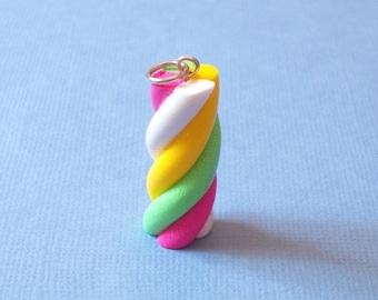 Marshmallow twister Charm, Marshmallow twister Pendant, polymer clay Marshmallow, Marshmellow charm