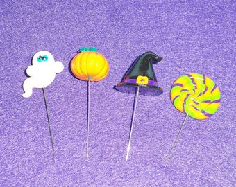 Halloween Sewing Pin Topper - set if 4 (polymer clay), witch hat pin, ghost pin, lollipop pin, pumpkin pin, clay pin topper, clay pumpkin