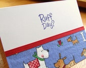 Ruff Day Dog flannel-handmade fabric card