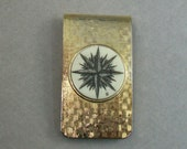 Bone Scrimshaw Money Clip with Compass Rose