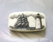 Scrimshaw Money Clip Knife with Lighthouse with ship in background - lindalayden