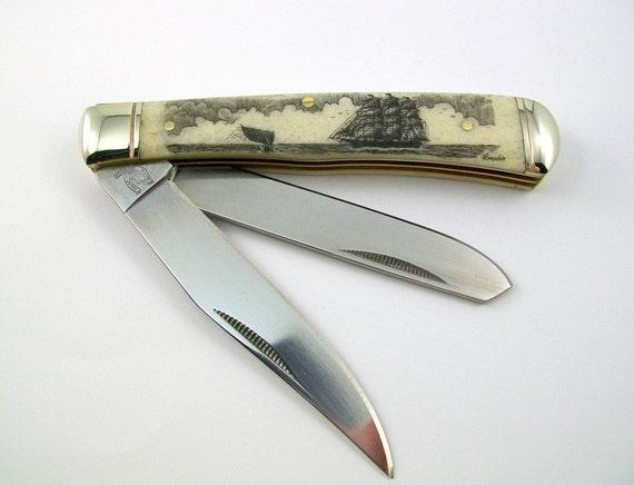 Scrimshaw Pocket Knife ship and whale fluke