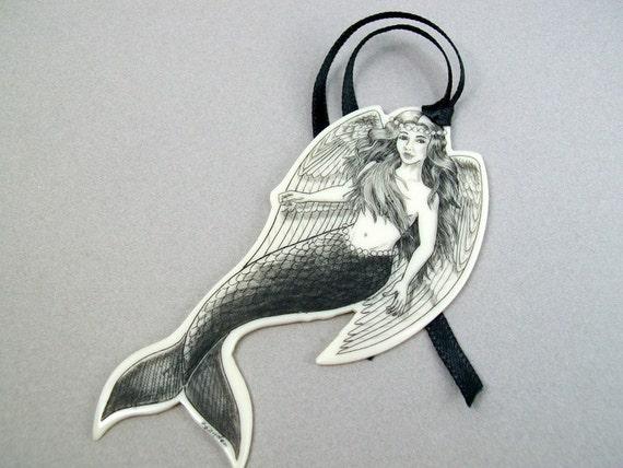 Mermaid, Merm-angel Bookmark, Resin Scrimshaw