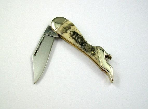 Scrimshaw Leg Pocket Knife with Ship
