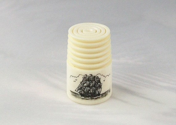 Collector's Scrimshaw Thimble with Sailing Ship