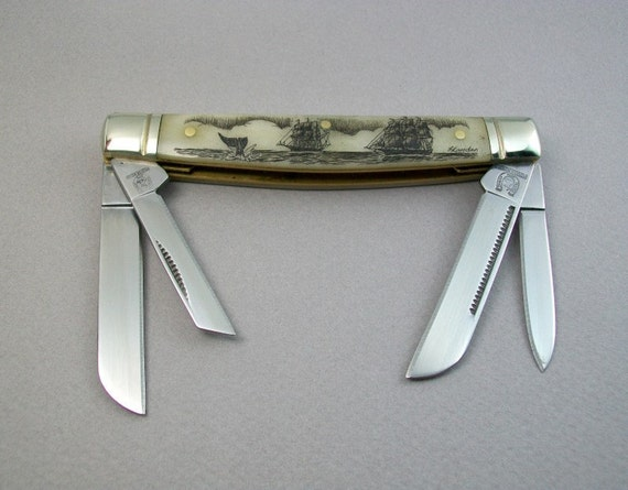 Scrimshaw Congress Pocket Knife with Ships and Whale fluke