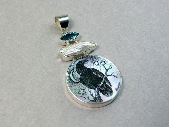 Scrimshaw Raven Sterling Silver Mother of Pearl Pendant with freshwater pearl and blue topaz