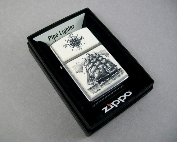 RESERVED for Lauren Fuentes, Ivory Scrimshaw on Zippo Pipe Lighter, Sailing Ship and Compass Rose