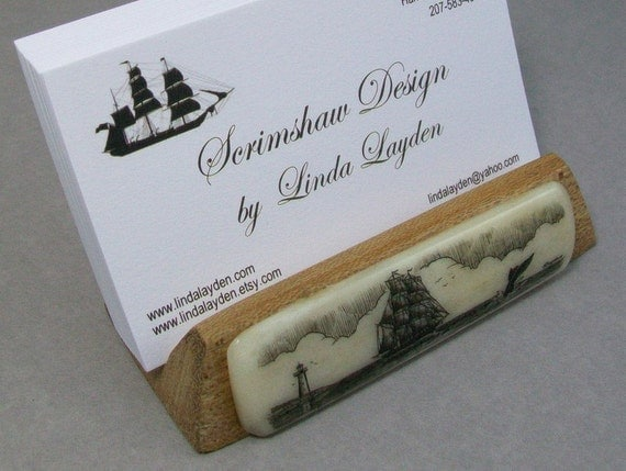 Wood and Bone Scrimshaw wooden Business Card Holder with a lighthouse, ship and whale fluke