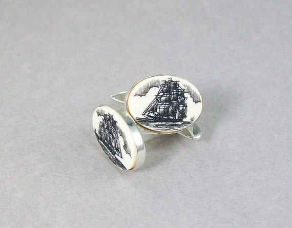 Ivory Scrimshaw Cuff Links with ships