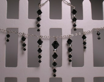 Handmade Jet Black Swarovski Crystal and Sterling Silver Necklace and Earrings