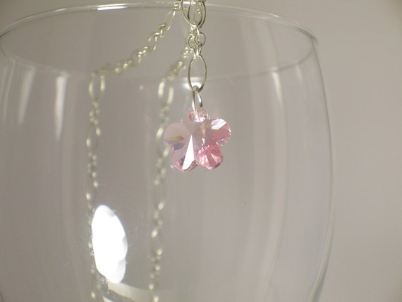 Swarovski Crystal and Sterling Silver Necklace for Breast Cancer Awareness