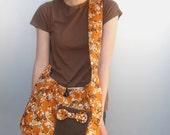 Mustard and Sage Japanese Blossoms Shoulder Bag