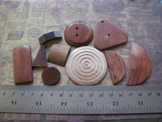 10 pcs Wood findings un drilled Lot assortment assorted vintage great for Jewelry making assemblage art wooden parts crafter craft