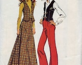 1972 Bellbottom Pants, Vest and MaxiSkirt - Size 10 - Vintage Simplicity Jiffy Pattern
