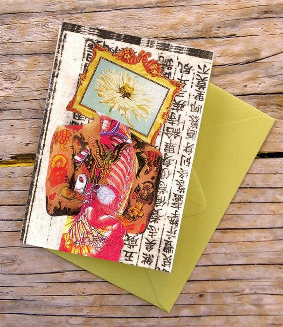 Flower Head Collage Art Note Card - Blank - 3 1/2 x 5 inches
