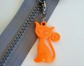 Orange Kitty  --  Zip Clip - Zipper Pull Charm