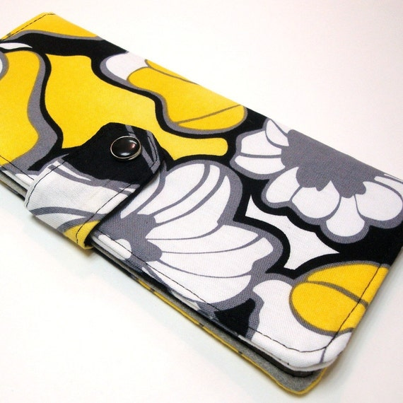 Yellow Flowers-- Billfold Wallet with Pearl Snap