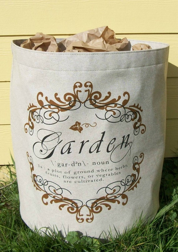 Large Fabric Planter  with Garden Motif