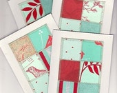 Red and Aqua Notecard Set