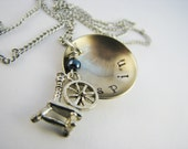 Necklace for Spinners - Stamped Nickel Silver Disc with Pewter Charm