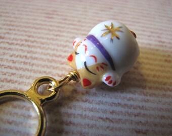 CUSTOM: 6 Lucky Cat Stitch Markers