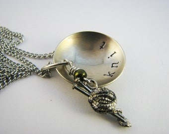 Necklace for Knitters - Stamped Nickel Silver with Pewter Charm
