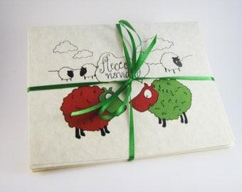 Set of 8 Sheep Christmas Cards - Fleece Navidad