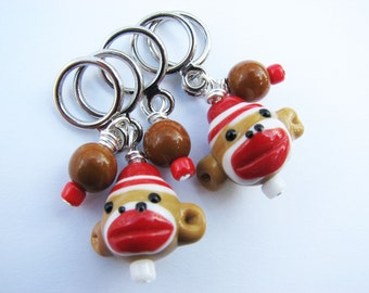Sock Monkey Non-Snag Stitch Markers