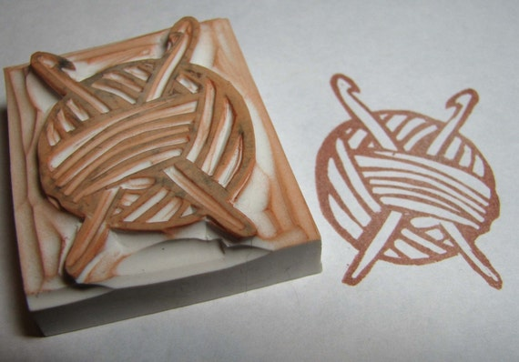 Ball O' Yarn with Crochet Hooks - Hand-Carved Rubber Stamp
