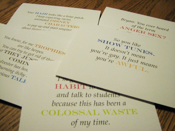 As Sue Cs It - Glee Notecards with Quotes from Sue Sylvester, part 1