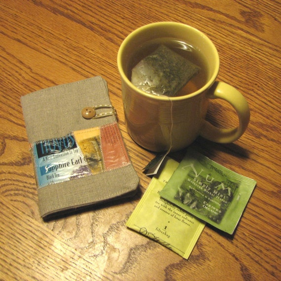 Linen Tea Wallet with Upcycled Tea Package Patchwork