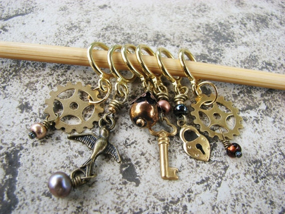 Steampunk No-Snag Stitch Markers