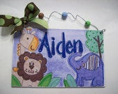 Hand painted personalized jungle animals room name sign for baby boy nursery or room