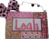 Hand painted personalized pink and brown girly name room sign