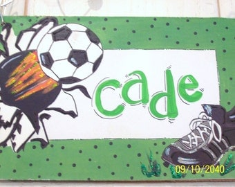 Soccer hand personalized sign