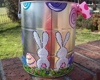 Hand painted personalized easter bucket or easter basket with sweet rabbits and polka dots