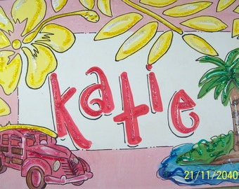 Beach girl hand personalized kids room sign name sign Hawaiian surfer