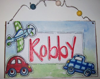 Cars trucks and airplanes hand personalized kids room name sign