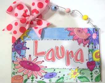 Hand personalized Funky flowers name room sign in pastels and brights