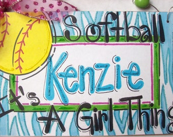 Hand personalized girls softball name room sign in bright colors