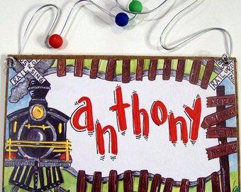 Hand Personalized boys train sign